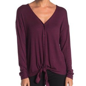 NWT 14th & Union Button Tie Front Rib Long Sleeve